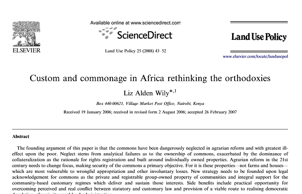 Custom and commonage in Africa rethinking the orthodoxies