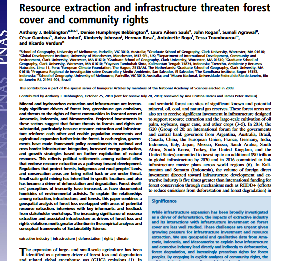 Resource extraction and infrastructure threaten forest cover and community rights