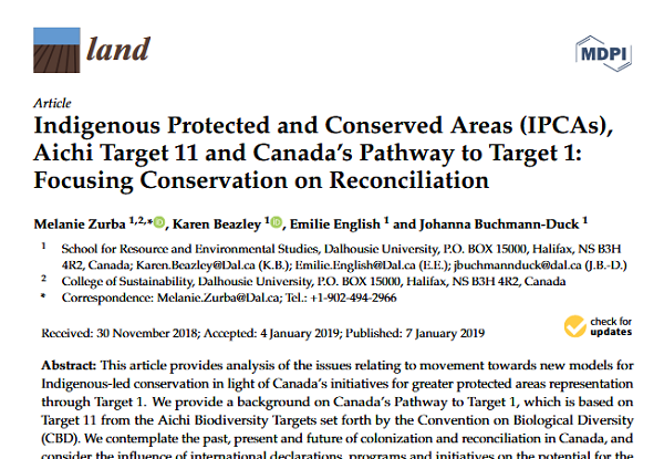 Indigenous Protected and Conserved Areas (IPCAs), Aichi Target 11 and Canada's Pathway to Target 1: Focusing Conservation on Reconciliation