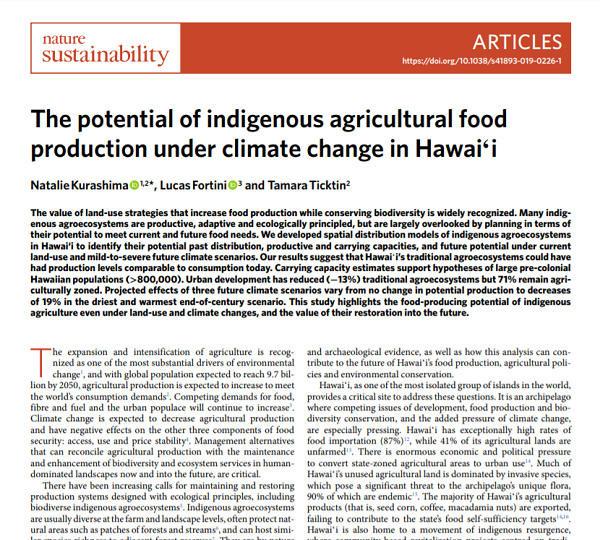 The Potential of Indigenous Agricultural Food Production under Climate Change in Hawaiʻi