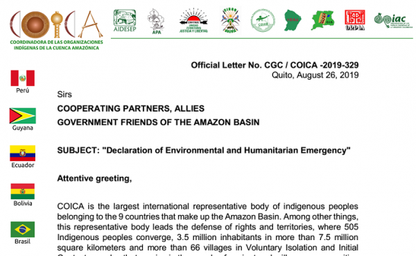 COICA declares the Amazon in Environmental and Humanitarian Emergency and Calls to Solidarity