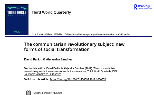 The Communitarian Revolutionary Subject: New Forms of Social Transformation