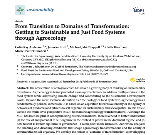 From Transition to Domains of Transformation: Getting to Sustainable and Just Food Systems through Agroecology