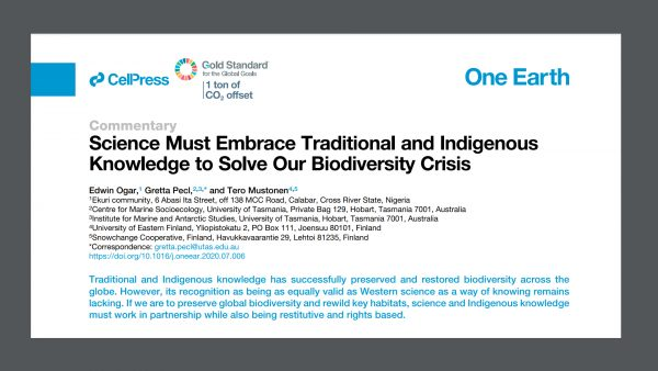 New article: Embrace indigenous knowledge to solve the global biodiversity crisis